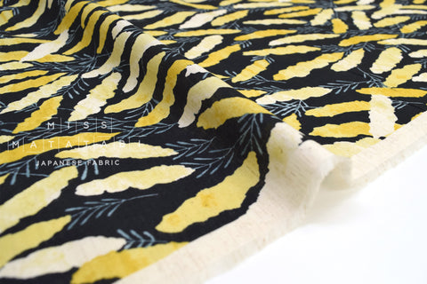 Japanese Fabric Kokka Natural Garden Voile - black, yellow - 50cm