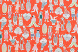 Japanese Fabric Cool Cats - orange - 50cm