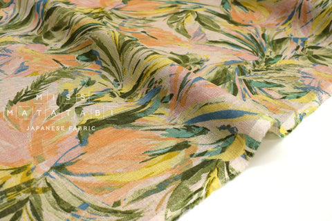 Japanese Fabric Palms linen voile - peach, green - 50cm