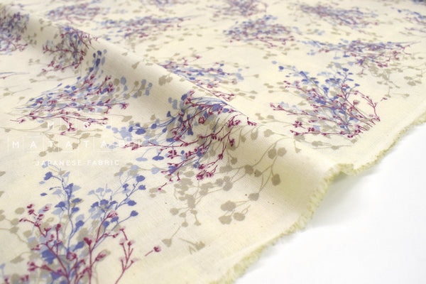 Japanese Fabric Floral Sprigs Double Gauze - cream - 50cm
