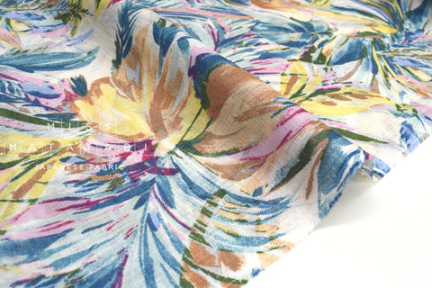 Japanese Fabric Palms linen voile - blue, pink, yellow - 50cm
