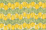 Japanese Fabric Tulips - yellow, green - 50cm