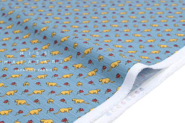 Japanese Fabric Little Lions Dobby - blue - 50cm