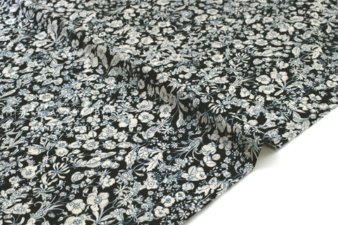 Japanese Fabric Floral Blooms Cotton Lawn - black, teal, taupe - 50cm