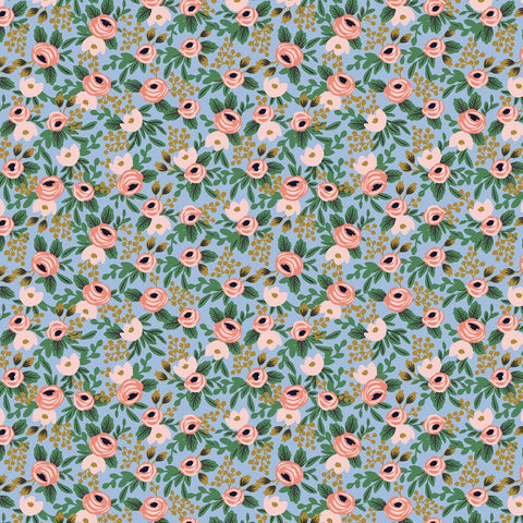 Cotton + Steel Rifle Paper Co. Garden Party - Rosa chambray metallic gold - 50cm