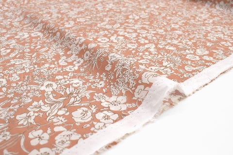 Japanese Fabric Floral Blooms Cotton Lawn - soft clay orange - 50cm