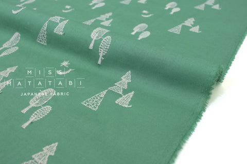 Japanese Fabric Embroidered Lawn Moonlit Forest - green - 50cm