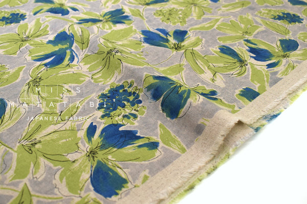 Japanese Fabric Greenery Linen Blend - B - 50cm