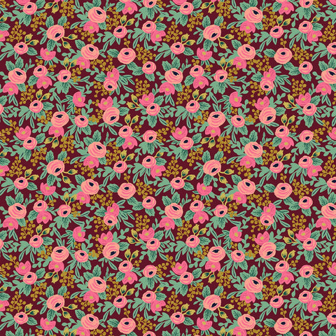 Cotton + Steel Rifle Paper Co. Garden Party - Rosa burgundy metallic gold - fat quarter