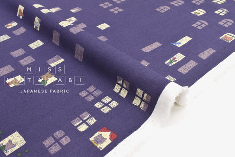 Japanese Fabric Kotorinuno Apartment - B - 50cm