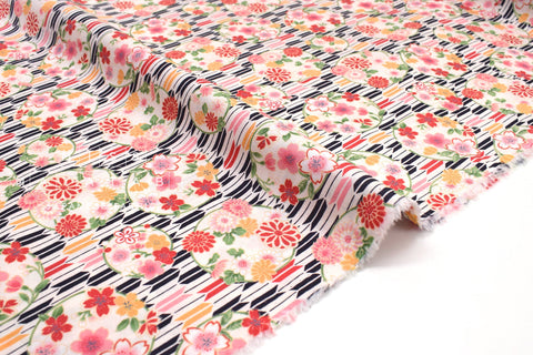 Japanese fabric Sakura and Arrows - E - 50cm
