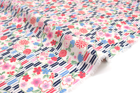 Japanese fabric Sakura and Arrows - D - 50cm