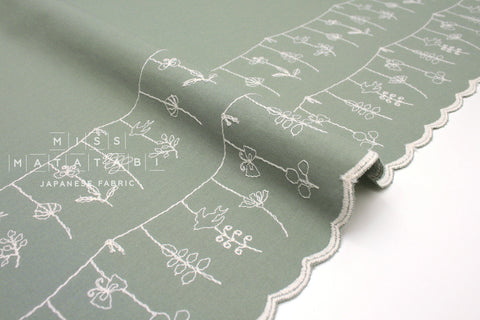 Japanese Fabric Embroidered Border - sage green - 50cm