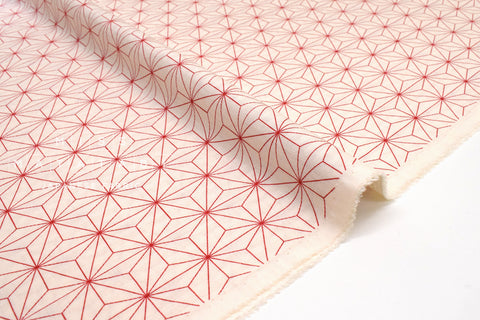 Japanese Fabric Soft Dobby Nezu - red, cream - 50cm