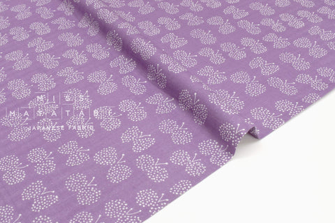 Japanese Fabric - Choucho double gauze - purple, metallic silver - 50cm