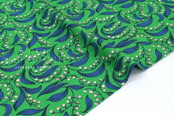 Japanese Fabric Bluebell - green, blue - 50cm