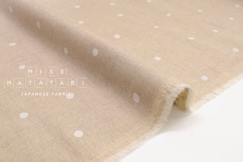 Japanese Fabric Polka Dot Linen Blend - A - 50cm