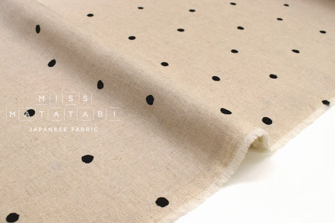 Japanese Fabric Polka Dot Linen Blend - B - 50cm