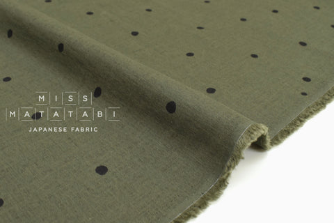 Japanese Fabric Polka Dot Linen Blend - D - 50cm