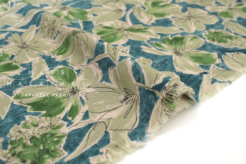 Japanese Fabric Greenery Linen Blend - D - 50cm