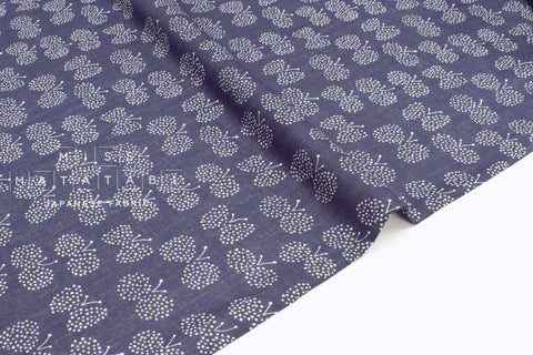 Japanese Fabric - Choucho double gauze - navy blue, metallic gold - 50cm