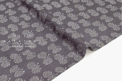 Japanese Fabric - Choucho double gauze - charcoal, metallic gold - 50cm
