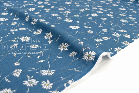 Japanese Fabric Daisies Double Gauze - teal - 50cm