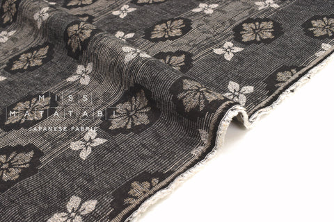 Japanese Fabric Yarn Dyed Jacquard Woven Kuchinashi - black, latte - 50cm