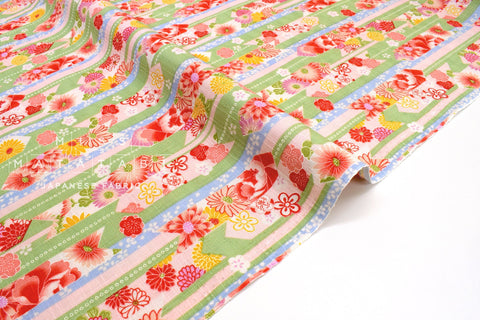 Japanese Fabric Wagara Floral Arrows -  green, pink - 50cm