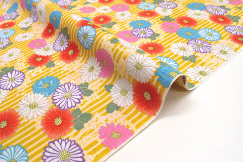 Japanese Fabric Chrysanthemum Dobby -  B - 50cm