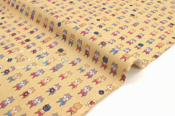 Japanese Fabric Lucha Libre Dogs - yellow - 50cm
