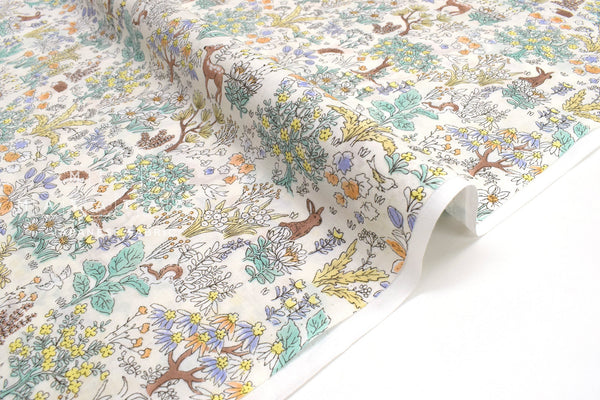 Japanese Fabric Little Forest Cotton Lawn - A - 50cm