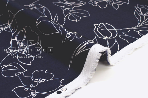 Japanese Fabric Sketches Rayon Sateen - dark navy blue - 50cm