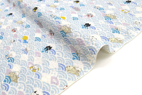 Japanese Fabric Cotton Seersucker Ocean Cats - A - 50cm