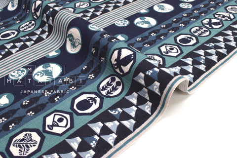 Japanese Fabric Lucky Dream Symbols Dobby - blue, teal - 50cm