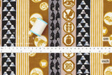 Japanese Fabric Lucky Dream Symbols Dobby - dark mustard, black, grey - 50cm