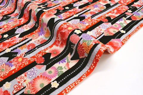 Japanese Fabric Wagara Floral Arrows -  black, red, grey - 50cm