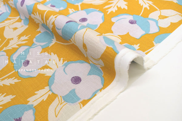Japanese Fabric Poppies Dobby - mustard - 50cm