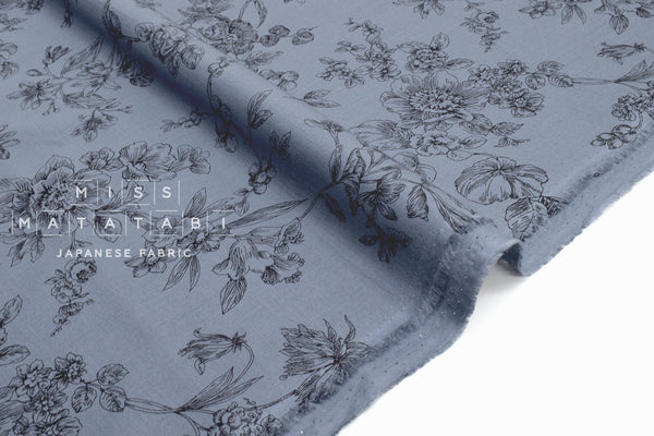 Japanese Fabric Floral Sketches Organic Cotton Lawn - C - 50cm