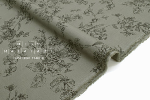 Japanese Fabric Floral Sketches Organic Cotton Lawn - D - 50cm