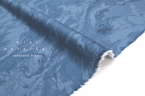Japanese Fabric Marble Sateen - blue - 50cm