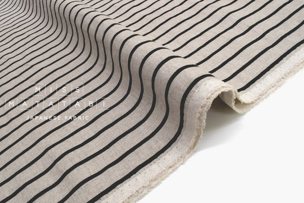 Japanese Fabric 100% Linen Stripes - A -  50cm