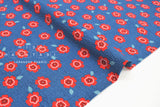 Japanese Fabric Cotton Seersucker Nobara - blue, red - 50cm