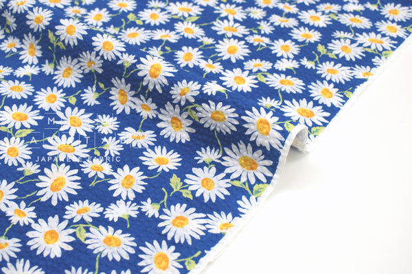 Japanese Fabric Cotton Seersucker Daisies - blue - 50cm
