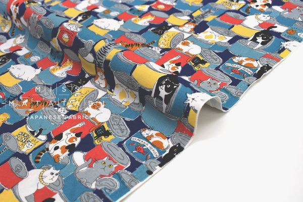 Japanese Fabric Canned Cats - blue, red, yellow - 50cm