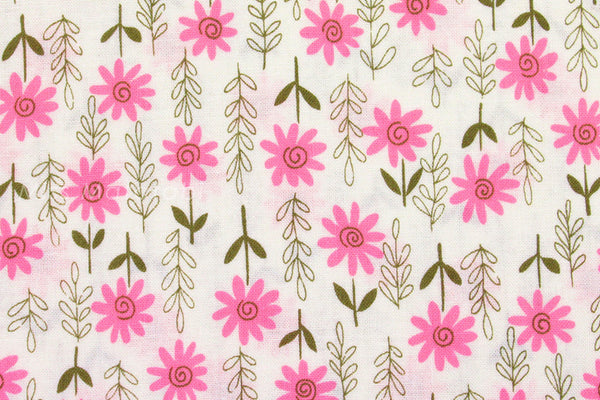 Japanese Kei Fabric Daisies - pink - fat quarter