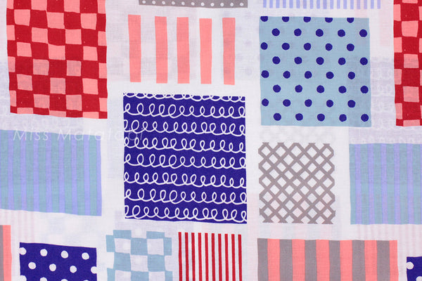 Kokka Patch - red, blue - fat quarter