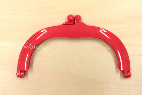 Japanese Purse Frame - gamaguchi - plastic frame - large - red