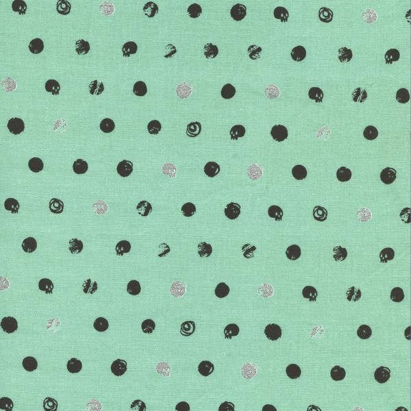Cotton + Steel Spellbound - skull dot metallic mint