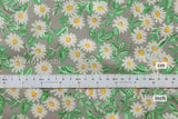 Japanese Kei Fabric Daisies - green, grey